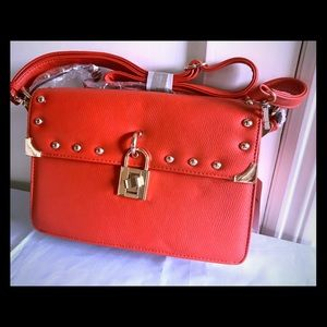 Melie Bianco Maggie Red-Orange Stud Handbag - New
